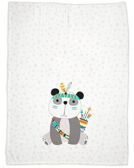 Be brave - Panda grau - Babydecke mit Namen