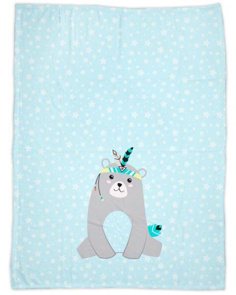 Be brave - Bär blau - Babydecke mit Namen