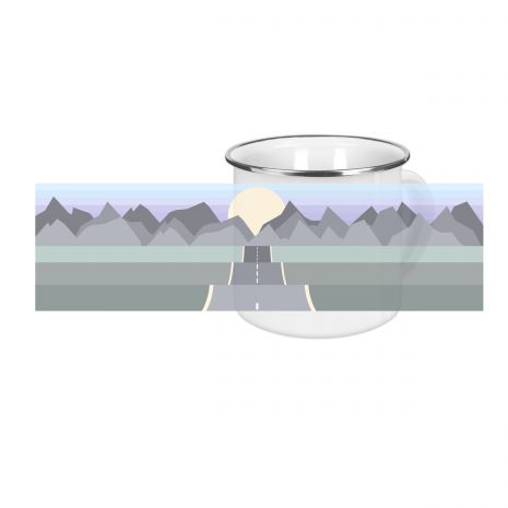 On the road mountains - Emaille-Tasse (300 ml)
