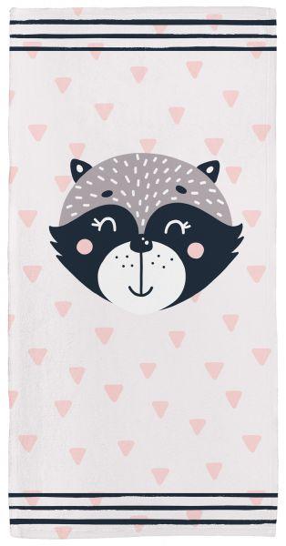 Raccoon rosa - Babyhandtuch mit Namen
