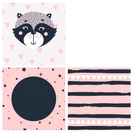 Raccoon rosa - Sitzwürfel mit Namen