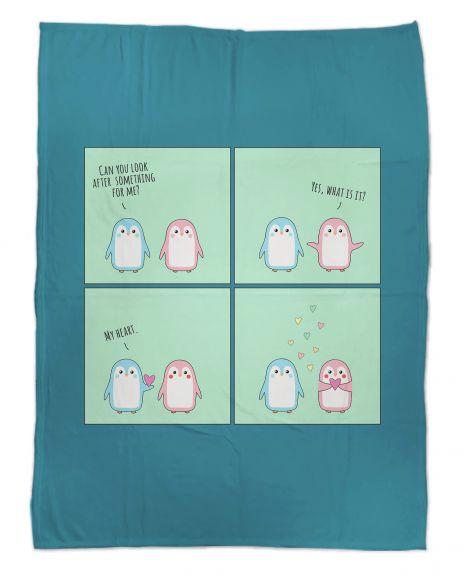 Pinguin Love - Kuscheldecke mit Namen
