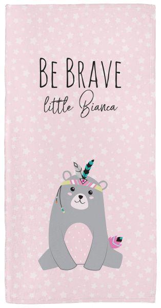 Be brave - Bär rosa - Babyhandtuch mit Namen
