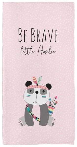 Be brave - Panda rosa - Babyhandtuch mit Namen