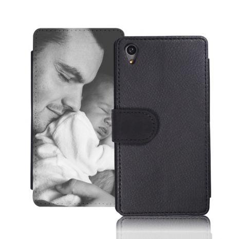 Sideflip-Case (schwarz) passend für Sony Xperia Z5 compact, Selbst gestalten