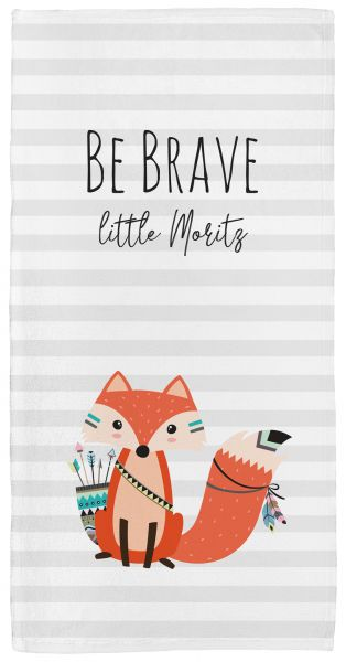 Be brave - Fuchs grau - Babyhandtuch mit Namen