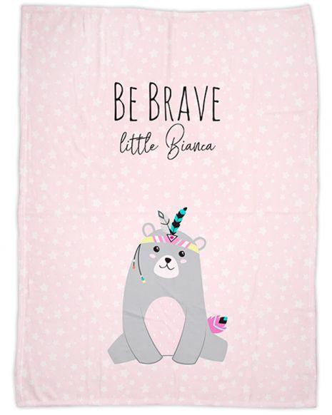 Be brave - Bär rosa - Babydecke mit Namen