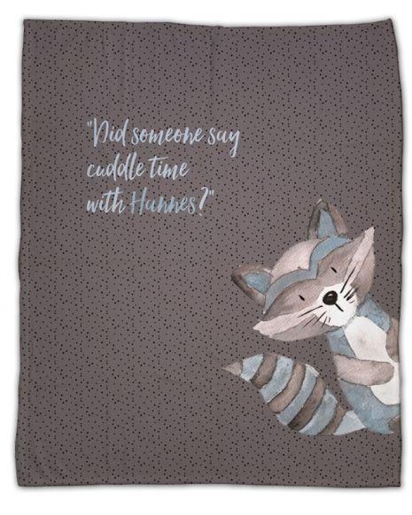 Cuddly raccoon - Babydecke mit Namen
