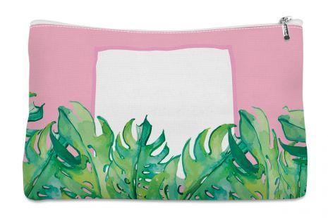 Leaves on pink - Kosmetiktasche mit Namen