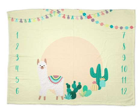 Lama party - Babydecke mit Namen