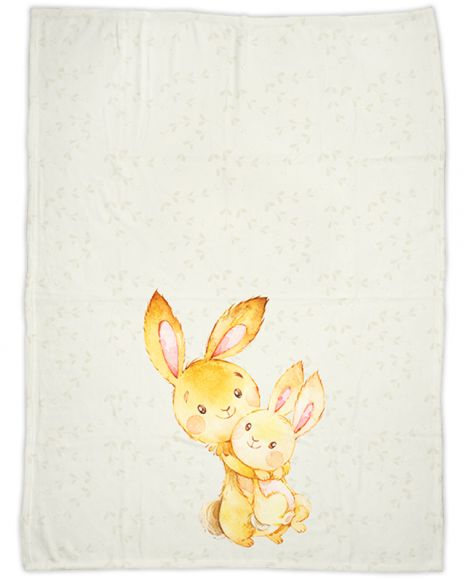 Mommy and baby rabbit - Babydecke mit Namen