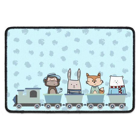 Fußmatte für Kinder mit Namen – Zug blau