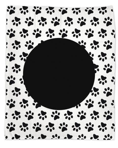 Pfote schwarz weiß - Hundedecke mit Namen