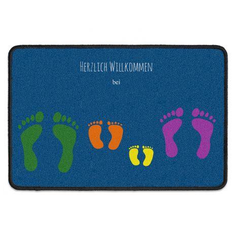 Fußmatte personalisiert mit vier Namen - Familie – 4 Fußabdrücke
