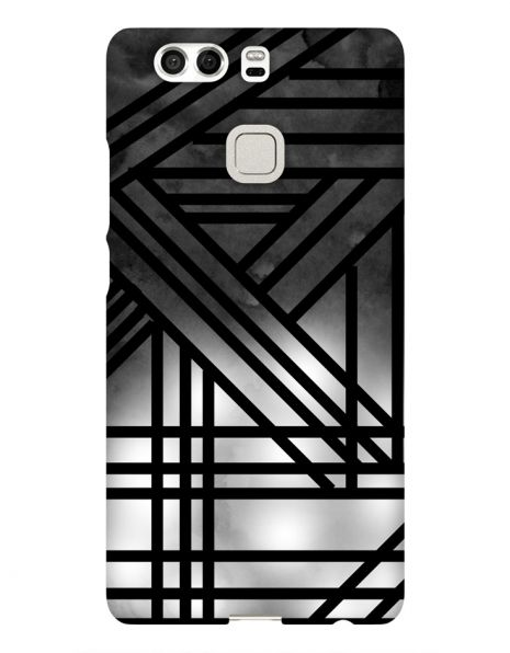 Huawei P9 3D-Case (glossy) Gibilicious Design Grey smoke with black lines von swook! - switch your look