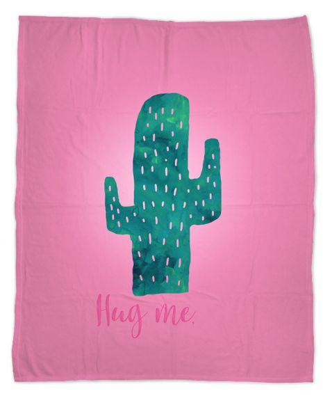 Hug me cactus - Kuscheldecke mit Namen