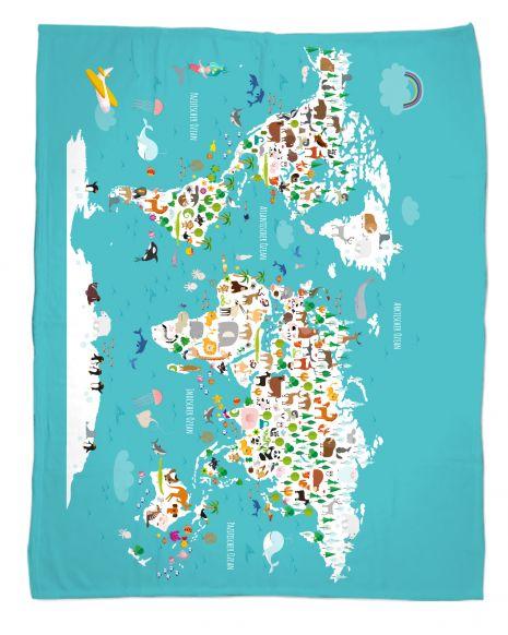 Weltkarte - Babydecke mit Namen