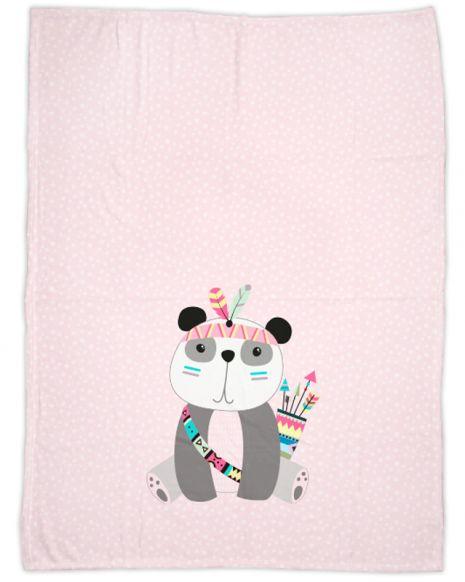 Be brave - Panda rosa - Babydecke mit Namen