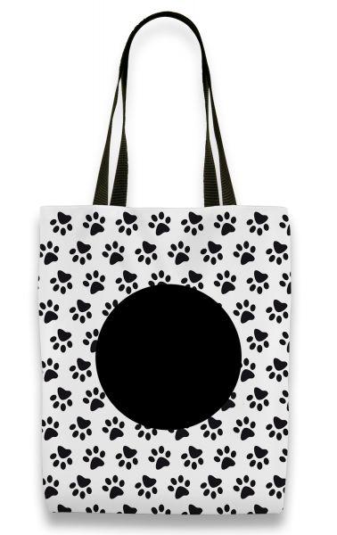 Pfote schwarz weiß - Shopper mit Namen