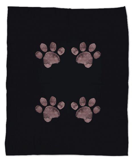 Pfoten braun - Hundedecke mit Namen