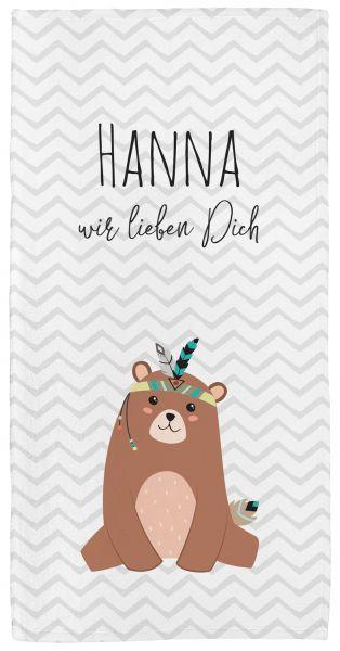 Be brave - Bär grau - Babyhandtuch mit Namen