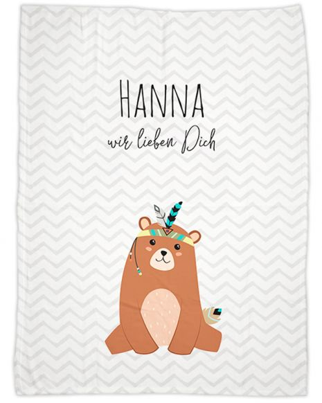 Be brave - Bär grau - Babydecke mit Namen