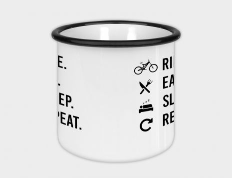 Emaille-Tasse - Ride Eat Sleep Repeat (white)