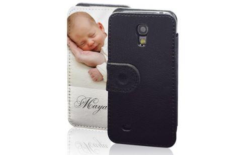 Sideflip-Case (schwarz) passend für Samsung Galaxy S4 Mini, Selbst gestalten