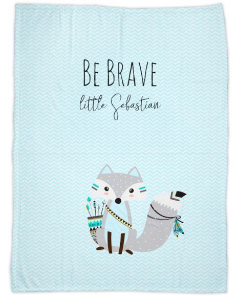 Be brave - Fuchs blau - Babydecke mit Namen