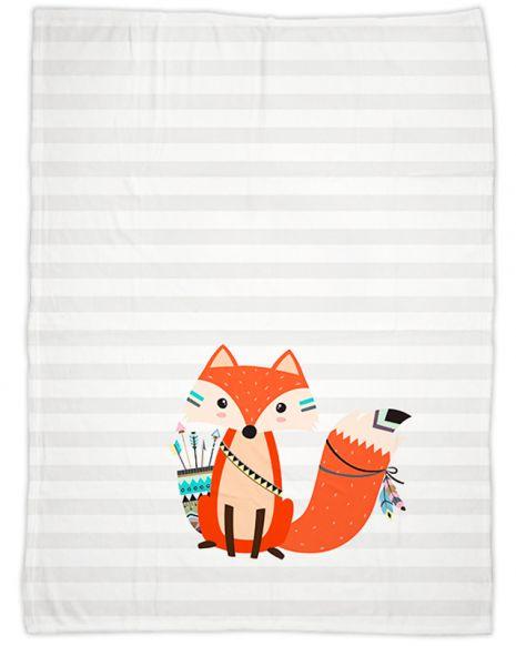 Be brave - Fuchs grau - Babydecke mit Namen