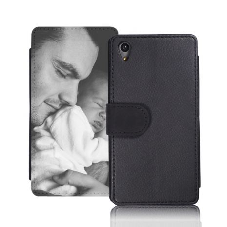 Sideflip-Case (schwarz) passend für Sony Xperia Z3 Compact, Selbst gestalten