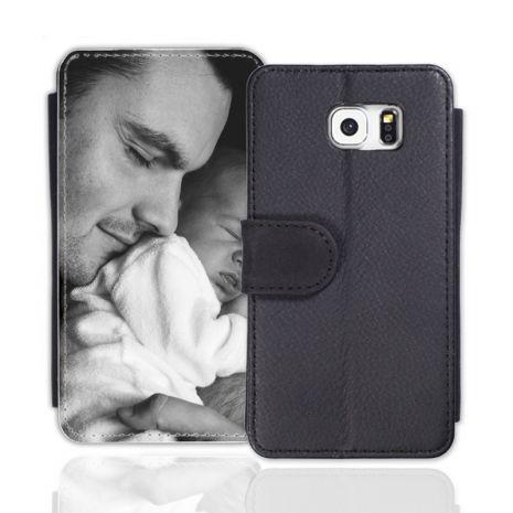 Sideflip-Case (schwarz) passend für Samsung Galaxy S7 Edge, Selbst gestalten