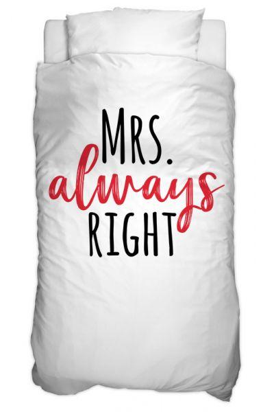 Bettbezug Mrs Always Right Text Für 135 X 200 Cm Swook Swook