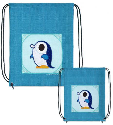 Turnbeutel mit Pinguin (+ eigener Text)