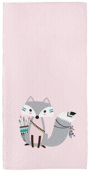 Be brave - Fuchs rosa - Babyhandtuch mit Namen