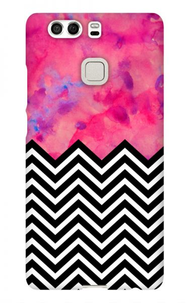 Huawei P9 3D-Case (glossy) black and white and PINK von swook! - switch your look
