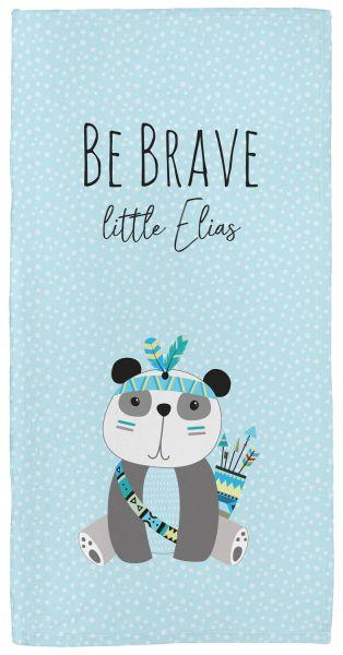 Be brave - Panda blau - Babyhandtuch mit Namen