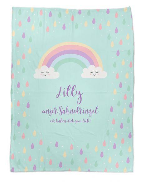 Rainbow Drop - Babydecke mit Namen