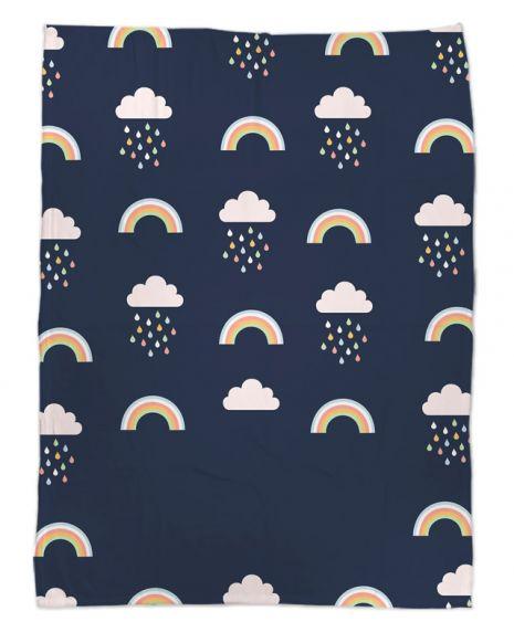 Regenbogen und Wölkchen - Babydecke mit Namen