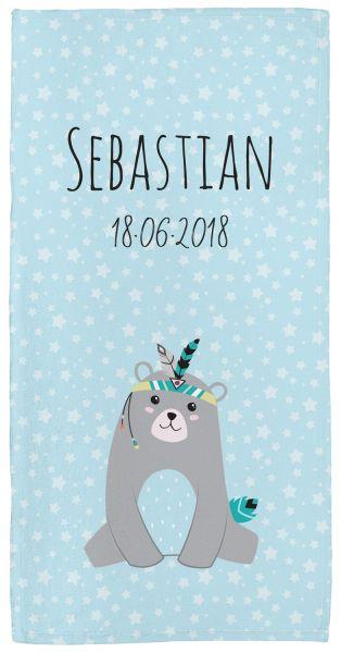 Be brave - Bär blau - Babyhandtuch mit Namen