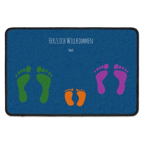 Fußmatte mit drei Wunschnamen - Familie - 3 Fußabdrücke