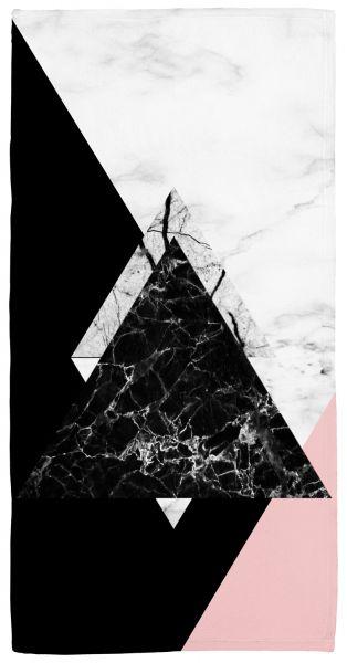 Dreiecke Marmor - Handtuch mit Namen