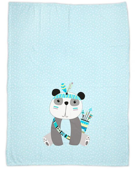 Be brave - Panda blau - Babydecke mit Namen